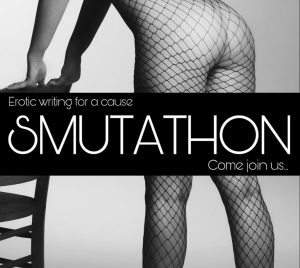 The Smutathon badge showing a woman in fishnets bending over a chair with tagline 'Erotic writing for a cause'