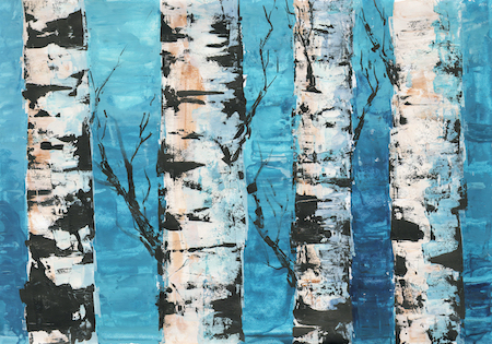 birch trees on a blue background