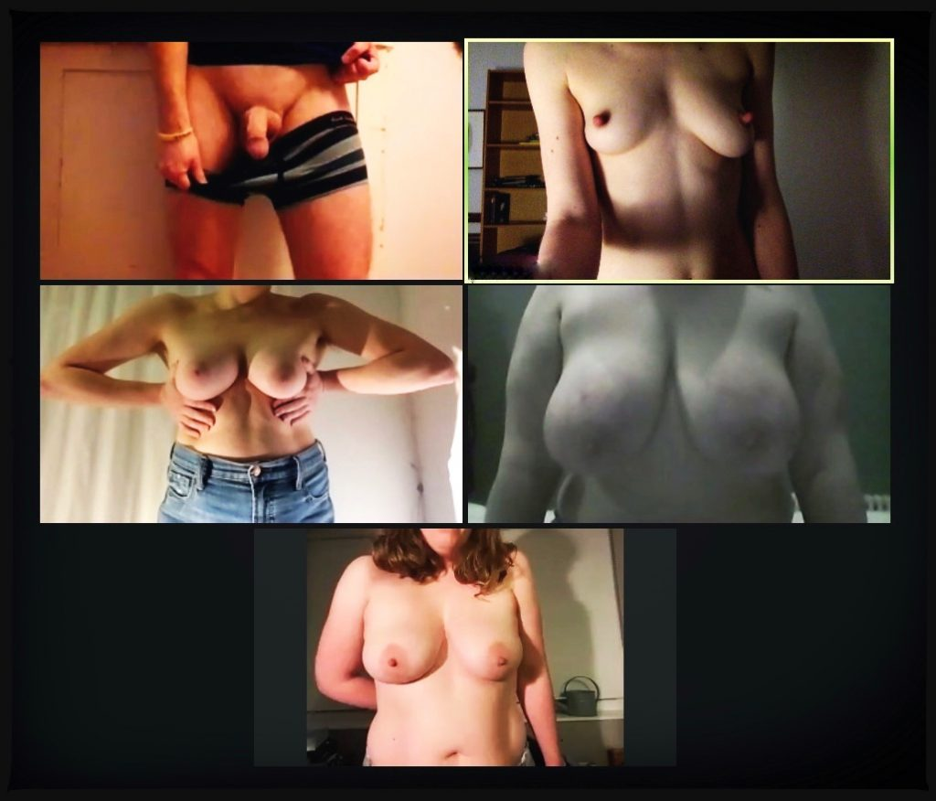 A screenshot from a Zoom call group chat showing the committee in various states of nudity - one cock and four sets of breasts on display!
