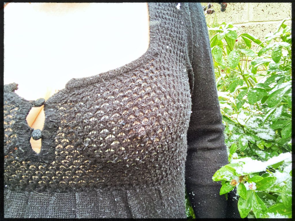 Me,  wearing a knitted wooden black jumper with a relatively wide weave
