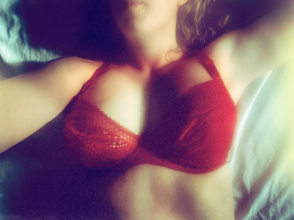 The Other Livvy, wearing her red bra