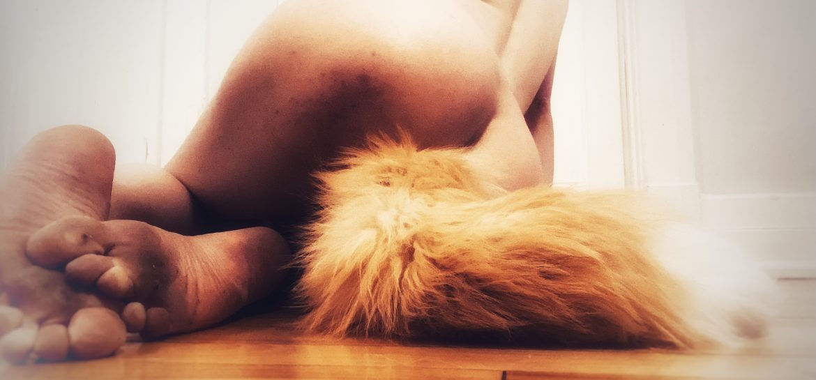 image of jayne from behind to show off her fox tail butt plug and dirty feet